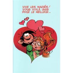 """Carte Gaston Lagaffe """"Vive les mariés, Vous voilà unis…""""- 12x17 cm"""