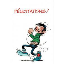 "Carte Gaston Lagaffe ""Félicitations! C'est génial! …""- 12x17 cm"