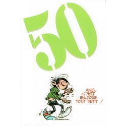 """Carte Gaston Lagaffe """"50 ... ans. C'est encore tout petit !"""" - 12x17 cm"""