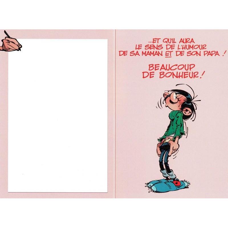 """Exceptionnel Carte Gaston Lagaffe """"Félicitations pour votre bébé! …""""- 12x17 cm  GH99"""