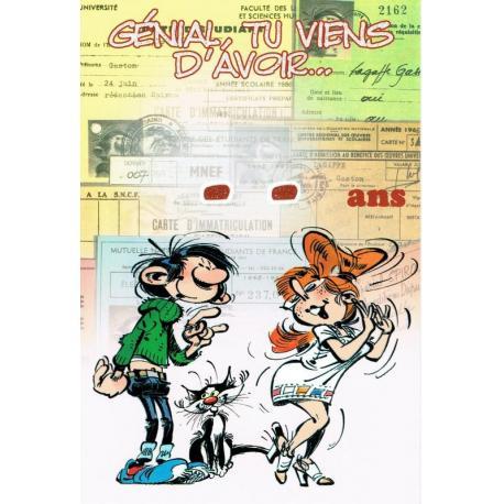 """Carte Gaston Lagaffe """"Génial, tu viens d'avoir ... """"- 12x17 cm"""