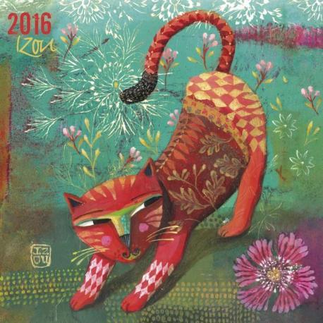 """Calendrier Izou 2016 """"Le chat rouge"""" 16x16 cm"""