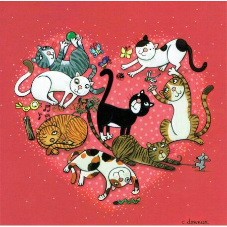Carte Christine Donnier : Titi Pinson - Chats in love - 13.5x13.5 cm