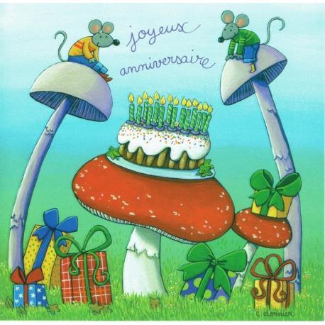 Carte Christine Donnier : Titi Pinson - Joyeux anniversaire (les champignons) - 13.5x13.5 cm