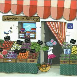 Carte Titi Pinson : Christine Donnier - L'épicerie du bonheur - 13.5x13.5 cm