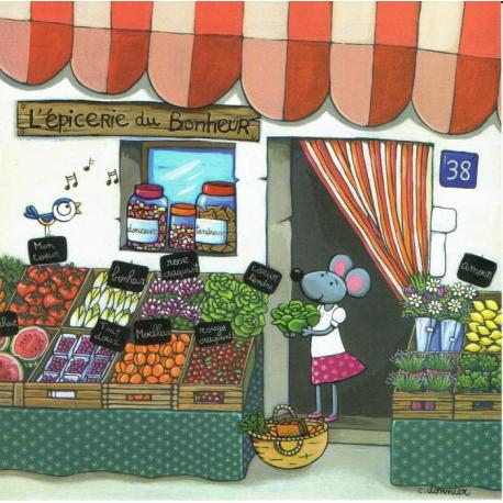 Carte Christine Donnier : Titi Pinson - L'épicerie du bonheur - 13.5x13.5 cm