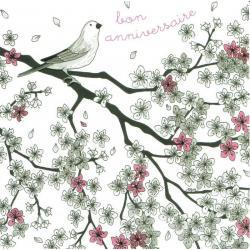 Carte Titi Pinson : Myriam Nion - Bon anniversaire: oiseau sur la branche - 13.5x13.5 cm