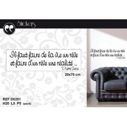 """Stickers citation Pierre Curie """"Il faut faire de la vie un rêve..."""" Format 20 x 70 cm"""