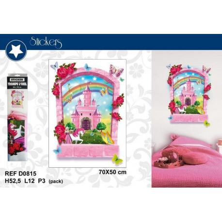 """Stickers Trompe l'oeil """"Château prince et princesse"""" - Format 50x70 cm"""