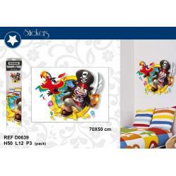 """Stickers Trompe l'oeil """"Pirates"""" - Format 50x70 cm"""