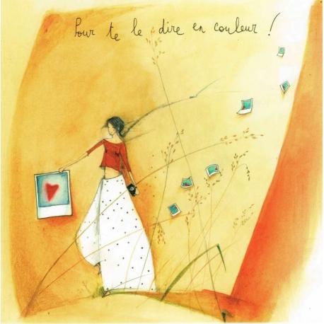 """Carte Anne-Sophie Rutsaert """"Pour te le dire en couleur!"""" 14x14 cm"""