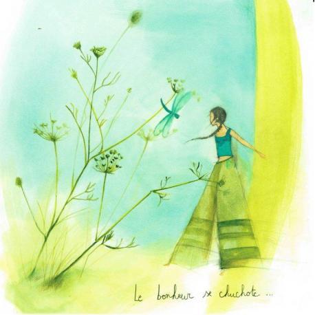 """Carte Anne-Sophie Rutsaert """"Le bonheur se chuchotte..."""" 14x14 cm"""