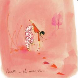 """Carte Anne-Sophie Rutsaert """"Aimer ... et avancer..."""" 14x14 cm"""