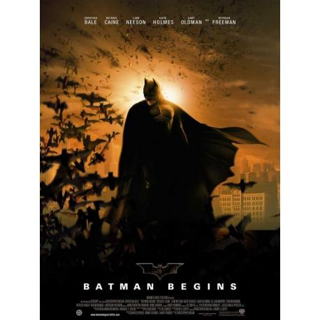 """Batman """"Begins"""" de Christopher Nolan 2005 - 40x53 cm Pliée - Affiche officielle du film"""