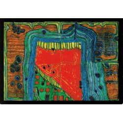 Carte Hundertwasser - Jardin dans la goutte de pluie - 11.2x16 cm
