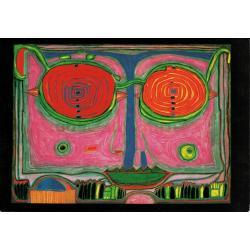 Carte Hundertwasser - Spectacles dans un petit visage - 11.2x16 cm