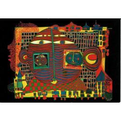 Carte Hundertwasser - Adieu d'Afrique - 11.2x16 cm