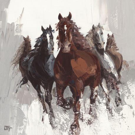 Carte Bernard Ott - Les chevaux II - 14x14 cm