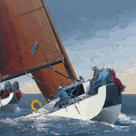 Carte Guy Dekeryver - Au rappel sur Tribord - 14x14 cm