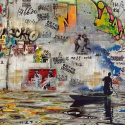Carte Maïlo - Impressions urbaines pêcheur de graffiti - 14x14 cm