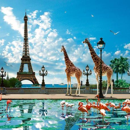 Carte Patrick le_Hech - Giraffe Eiffel Bridge - 14x14 cm
