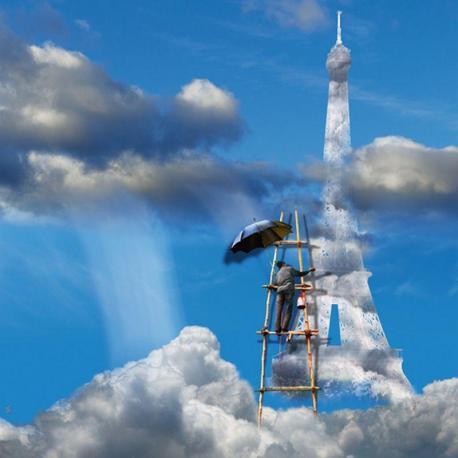 Carte Maïlo - Peintre de ciel La Tour Eiffel - 14x14 cm