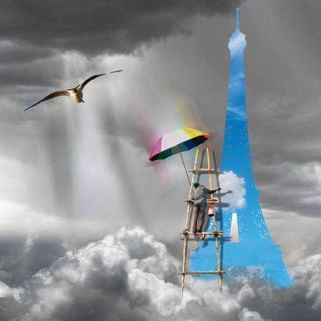 Carte Maïlo - Peintre des nuages La Tour Eiffel - 14x14 cm