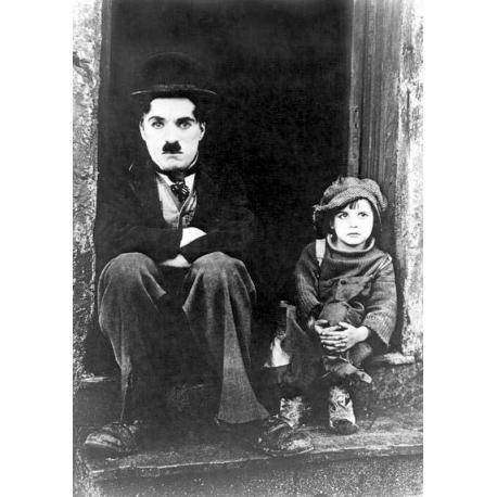 Affiche Le Kid - Charlie Chaplin - Sur le perron - Dim: 50x70 cm