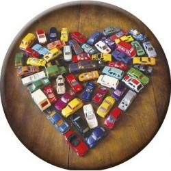 "Magnet décapsuleur rond Lali & MG ""Love Toy Cars"" (diamètre: 56 mm)"