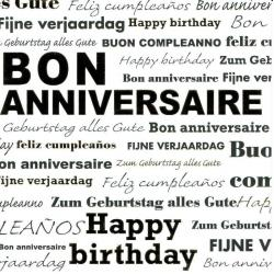 "Carte Black and Gold ""Bon anniversaire - Happy Birthday"" 14.5x14.5 cm"