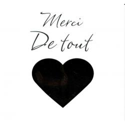 "Carte Black and Gold ""Merci de tout coeur"" 14.5x14.5 cm"