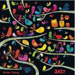 """Calendrier Nicolas Gouny 2017 """"Les oiseaux"""" 30x30 cm"""