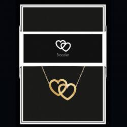 """Bracelet """"Double coeur"""" Collection Black & Gold """"14 cm env. réglable"""
