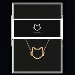 """Bracelet """"Chat"""" Collection Black & Gold """"14 cm env. réglable"""