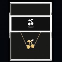 """Bracelet """"Cerises"""" Collection Black & Gold """"14 cm env. réglable"""