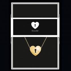 """Bracelet """"Cœur serrure"""" Collection Black & Gold """"14 cm env. réglable"""