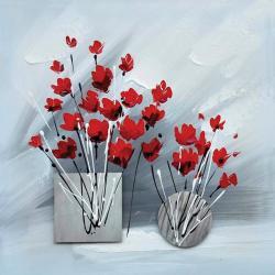 """Toile Cadr'aven : """"2 bouquets pot métal"""" 60x60 cm"""