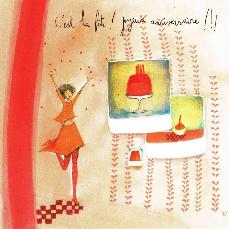 Carte Anne Sophie Rutsaert C Est La Fête Joyeux Anniversaire 14x14 Cm Planete Images Com