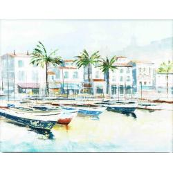 """Toile : """"Port au palmier"""" 60x80 cm"""