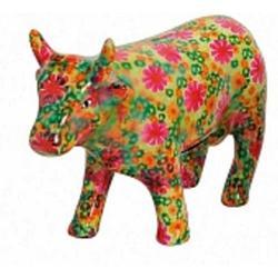 Tirelire vache. Polyrésine 28x18 cm - Jaune - 3 couleurs assorties