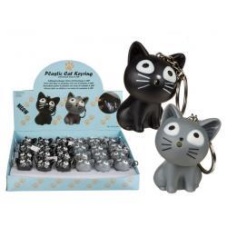 Porte-clés Cat Keyring avec son d'animaux et led - 5 cm Gris ou Noir