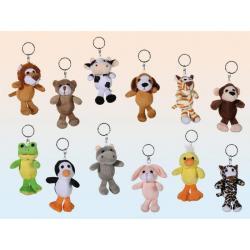 Porte-clés peluche animaux - 11cm 12 modèles