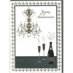 Carte double Sparkle - Joyeux anniversaire (Champagne) - 12x17 cm