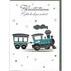 Carte double Sparkle - Félicitations profite de chaque instant (Garçon) - 12x17 cm