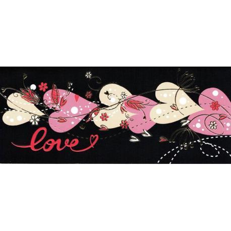 Carte double Ebène - Love - Guirlande de coeurs - 21X9 cm