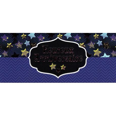 Carte double Ebène - Heureux anniversaire - Dans les étoiles - 21X9 cm