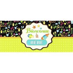 Carte double Ebène - Bienvenue à bébé - 21X9 cm
