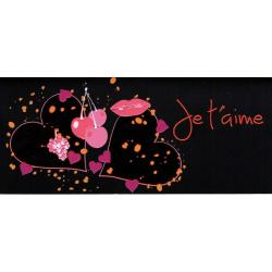 Carte double Ebène - Je t'aime - Deux coeurs - 21X9 cm