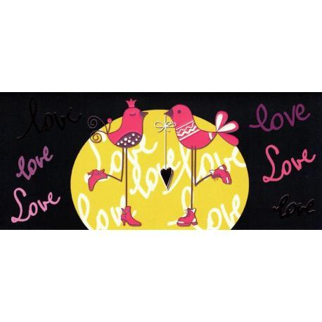 Carte double Ebène - Love - Déclaration - 21X9 cm