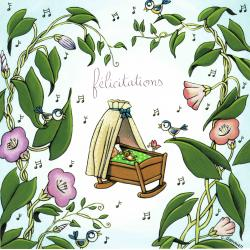 Carte Christine Donnier : Titi Pinson - Félicitations naissance - 13.5x13.5 cm